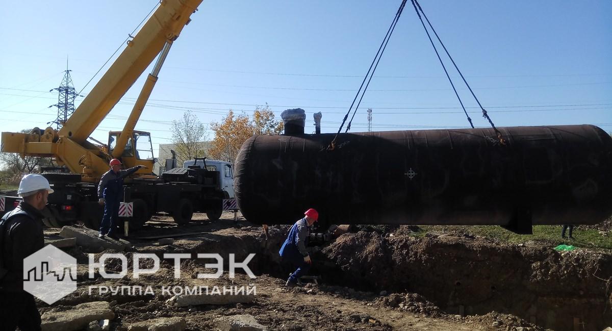 Монтаж резервуаров СУГ в проектное положение
